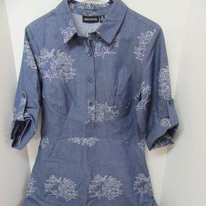 Nina Leonard Cotton Blue Dress White Floral Sz 10